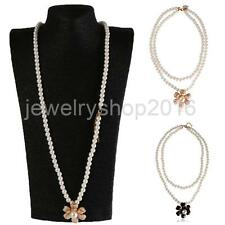 Double 2 Layer Camellia Flower Pendant Faux Pearl Sweater Necklace