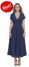 DARK BLUE WOMENS CELEB CLASSIC CLASSY VINTAGE RETRO WRAP OFFICE PARTY DRESSES