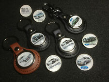 FORD  LEATHER KEY RINGS & SILVER PLATED BADGES & FREE FORD STICKER