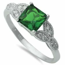 Vintage Wedding Engagement Ring 925 Sterling Silver 1.24CT Emerald Russian CZ