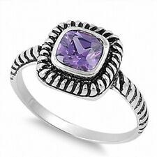 Wedding Engagement Band Ring Sterling Silver 1 Ct Solitaire Purple Amethyst
