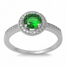 Accent Wedding Engagement Ring 925 Sterling Silver 1 Ct Emerald Green Russian CZ