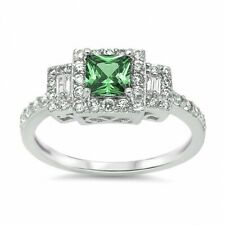 Halo Wedding Engagement Ring 925 Sterling Silver 3 Ct Emerald Green Russian CZ