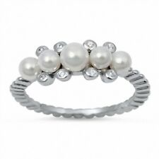 5 White Fresh Water Pearl Bezel CZ Wedding Ladies Ring Solid 925 Sterling Silver
