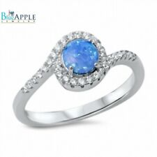 Solitaire Dazzling Wedding Engagement Ring 925 Sterling Silver Lab Opal Clear CZ