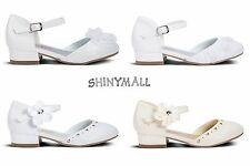 Girls Toddler Youth  Pageant wedding First communion White Mary Jane Shoes.