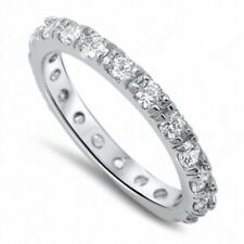 4MM Stackable Ladies Wedding Engagement Band Ring 925 Sterling Silver Russian CZ