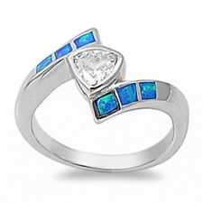 13mm Synthetic Cut Wedding Engagement Ring 925 Sterling Silver Lab Opal Russian