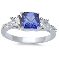 3 Stone Wedding Engagement Ring 925 Sterling Silver 2.50 Ct Tanzanite Russian CZ