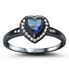 Halo Heart Promsie Ring 925 Sterling Silver 1.20CT Sapphire Clear Russian CZ