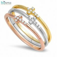 3 Sideways Cross Ring 925 Sterling Silver Pink,Rose Gold Plated Clear Russian CZ