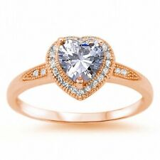 Halo Heart Valentines Ring Rose Gold 925 Sterling Silver 1.20CT Russian CZ