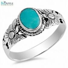 Oval Elegant Promise Ring 925 Sterling Silver Synthetic Turquoise