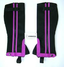HALF CHAPS HORSE RIDING EQUESTRIAN BLACK AMARA PURPLE DESIGN WASHABLE BNWT