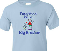 """BIG BROTHER T-Shirt """"I'm gonna be a BIG BROTHER"""" Pregnant Mother BLUE Youth Tee"""