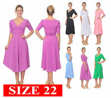 WOMENS RETRO 1950s PIN UP ROCKABILLY VINTAGE MIDI WRAP DRESSES PLUS SIZE 22 3XL