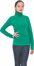 GREEN WOMENS CASUAL TURTLENECK WINTER MOCK NECK LONG SLEEVE TOP PULLOVER SWEATER