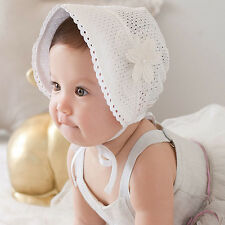 Princess Hollow Out Baby Girl Hat Summer Lace-up Beanie Pink/White Cotton Bonnet