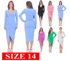 WOMENS COLD SHOULDER LONG SLEEVE BODYCON CELEB COCKTAIL DRESSES  SIZE 14 XL