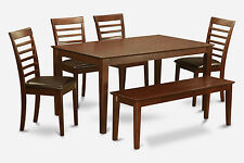 6 PC dining room table with bench set-table and 4 dining room chairs and Bench