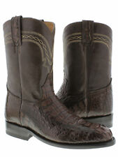 Mens Brown Roper Crocodile Leather Cowboy Boots Rodeo Western Alligator Exotic