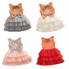 Bow Girls Kids Toddler Baby Princess Party Pageant Wedding Tulle Tutu Dresses