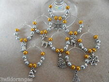 Christmas Wine Glass Charms/ Napkin Rings Set of 6 8 10 or 12 Gold & Silver