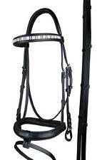 Black Leather Snaffle Horse Bridle 3 Lane Diamante Browband Cob, Full, W/B Size