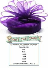 CADBURY PURPLE SHEER ORGANZA RIBBON, MANY WIDTHS AND LENGTHS 3MM TO 38MM WIDE