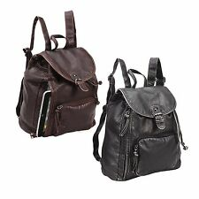 Vintage stylish College School Student Backpack- P2575 (Black and Brown)
