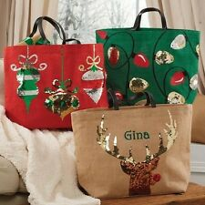Mud Pie MH5 Christmas Holiday Dazzle Rudolph Lights Ornament Jute Totes 8613178