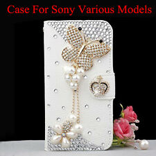 Bling Handmade Diamonds Pearls butterfly Card Wallet Case Stand Cover For Sony