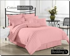 1200 1000 800 TC 100% Egyptian Cotton UK Size Hotel Pink in Solid & Striped