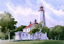 Sandy Hook Lighthouse, New Jersey. Watercolor Notecards