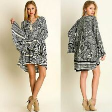 Umgee BOHO Black Paisley Bell Sleeve Tassel Tie Trapeze Swing Dress - Tunic S-XL