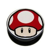 Super Mario Super Mushroom Screw-on Stash Box Plugs / Gauges Acrylic (2 Pieces)