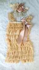 baby lace Posh Petti Ruffle Rompers baby girl romper newborn Natural Tan chapgne