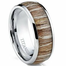 Titanium Ring Wedding Band Wood Inlay, 8mm Comfort Fit Sizes 7 to 13