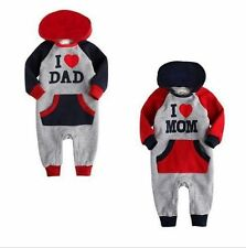 Baby Boy Girl Romper I LOVE MOM/DAD Toddler Spring Fall Toddler Costume Clothes