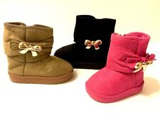 NEW Toddler Girls Faux Suede Bow Winter Boots Zipper Inner Faux Fur size 1-12