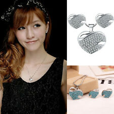 New Jewelry Crystal Rhinestone Heart Earring Necklace Set Fashion Korean Style