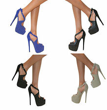 Womens Peep Toe Cut Out Stud Stiletto High Heel Ankle Strappy Shoes Sandals Size