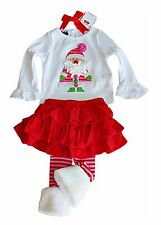 Mud Pie Christmas 2-pc holiday Santa skirt set fur trim leggings 6-9 & 9-12 NWT