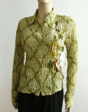 Kaelyn Max Womens Crinkle Green Floral Polyester Blouse Reg sz Long Sleeves Cuff
