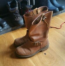 Caterpillar Boots Biker Tan Size 7 Buckle Pirate Leather Vintage Cat