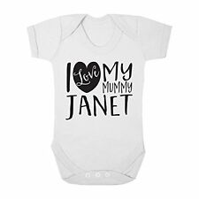 Personalised with ANY NAME I Love my Mummy Cute Boys & Girls Baby Vest Bodysuit