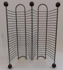 METAL WIRE RACK WITH WOOD KNOB LEGS 40 CD STORAGE HOLDER DISPLAY STAND ORGANIZER