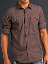 Affliction Black Premium Men's POWER TRAIN Long Sleeve Dress Shirt 10WV476 Brown