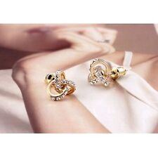 Delicate Fashion 3 Crossing Rings Circle Rhinestones Studded Women Earring Studs