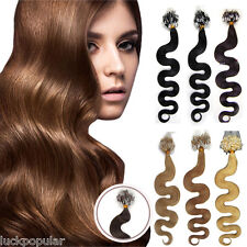 Body Wavy Hair Extensions Micro Ring Bead Loop Tip Remy Human Hair 20Inch 100S
